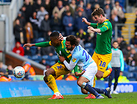 Preston North End's Darnell Fisher holds off the challenge from Blackburn Rovers' Bradley Dack<br /> <br /> Photographer Alex Dodd/CameraSport<br /> <br /> The EFL Sky Bet Championship - Blackburn Rovers v Preston North End - Saturday 9th March 2019 - Ewood Park - Blackburn<br /> <br /> World Copyright © 2019 CameraSport. All rights reserved. 43 Linden Ave. Countesthorpe. Leicester. England. LE8 5PG - Tel: +44 (0) 116 277 4147 - admin@camerasport.com - www.camerasport.com