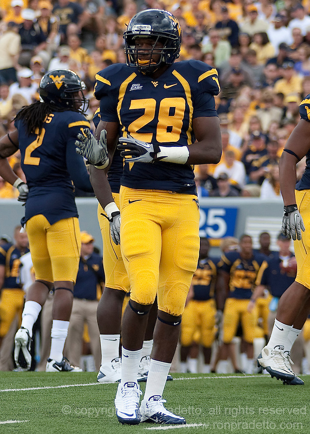 September 4, 2010: WVU defensive back Terence Garvin. The West Virginia Mountaineers defeated the Coastal Carolina Chanticleers 31-0 on September 4, 2010 at Mountaineer Field, Morgantown, West Virginia.