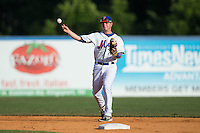 Kingsport Mets second baseman Dale Burdick (2) makes a throw to first base against the Elizabethton Twins at Hunter Wright Stadium on July 9, 2015 in Kingsport, Tennessee.  The Twins defeated the Mets 9-7 in 11 innings. (Brian Westerholt/Four Seam Images)