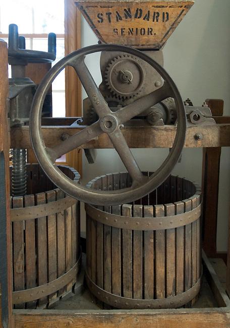Vintage wine press on display at Wollersheim winery in Wisconsin