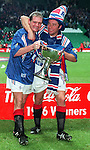 Paul Gascoigne and Ally McCoist celebrate with the Coca-Cola Scottish League Cup at Hampden after defeating Hearts in November 1996