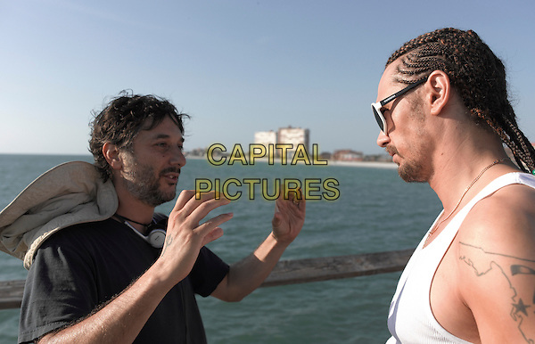Harmony Korine (director) &amp; James Franco<br /> on the set of Spring Breakers (2012) <br /> *Filmstill - Editorial Use Only*<br /> CAP/NFS<br /> Supplied by Capital Pictures