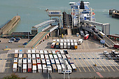 Lorries waiting to board a cross channel ferry at the Eastern Docks, Port of Dover, Kent.