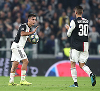 Football Soccer: UEFA Champions League -Group Stage-  Group D - Juventus vs Lokomotiv Moskva, Allianz Stadium. Turin, Italy, October 22, 2019.<br /> Juventus' Paulo Dybala (l) celebrates after scoring with his teammate Rodrigo Bentancur (r) during the Uefa Champions League football soccer match between Juventus and Lokomotiv Moskva at Allianz Stadium in Turin, on October 22, 2019.<br /> UPDATE IMAGES PRESS