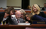 Nevada Assembly Republicans, from left, Robin Titus, Ira Hansen, Jill Dickman, Victoria Seaman and Michele Fiore talk on the Assembly floor during a special session at the Nevada Legislature in Carson City, Nev. on Thursday, Oct. 13, 2016. Lawmakers are considering a measure to expand the convention center and build a domed stadium in Las Vegas. Cathleen Allison/Las Vegas Review-Journal