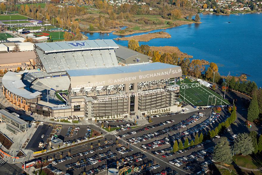 Aerial photo of University of Washington's Husky Stadium on the shores of Lake Washington