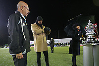 Haringey Chairman Aki Achillea eyes up the FA cup during Haringey Borough vs AFC Wimbledon, Emirates FA Cup Football at Coles Park Stadium on 9th November 2018