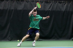27 January 2017: Notre Dame's Matt Gamble. The University of North Carolina Tar Heels hosted the University of Notre Dame Fighting Irish at the Cone-enfield Tennis Center in Chapel Hill, North Carolina in the first round of the Intercollegiate Tennis Association Men's Indoor Team Championship. North Carolina won the match 4-0.