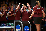 14 APR 2012: Maria Paula Vilas (05) and Megan Buja (04) of the University of Maryland Eastern Shore congratulate their teammate during the Division I Womens Bowling Championship held at Freeway Lanes in Wickliffe, OH.  The University of Maryland Eastern Shore defeated Fairleigh Dickinson 4-2 to win the national title.  Jason Miller/NCAA Photos