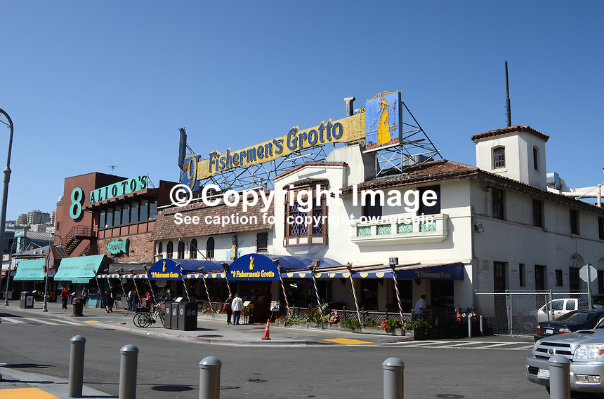 General view, gv, Logo, signage, Fisherman's Wharf, San Francisco, California, USA, 201304131260<br /> <br /> Copyright Image from Victor Patterson, 54 Dorchester Park, Belfast, UK, BT9 6RJ<br /> <br /> Tel: +44 28 9066 1296<br /> Mob: +44 7802 353836<br /> Voicemail +44 20 8816 7153<br /> Skype: victorpattersonbelfast<br /> Email: victorpatterson@me.com<br /> Email: victorpatterson@ireland.com (back-up)<br /> <br /> IMPORTANT: If you wish to use this image or any other of my images please go to www.victorpatterson.com and click on the Terms &amp; Conditions. Then contact me by email or phone with the reference number(s) of the image(s) concerned.