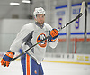 Devon Toews #46, defenseman, raises his stick during New York Islanders Prospect Mini Camp at Northwell Health Ice Center in East Meadow, NY on Wednesday, June 28, 2017.