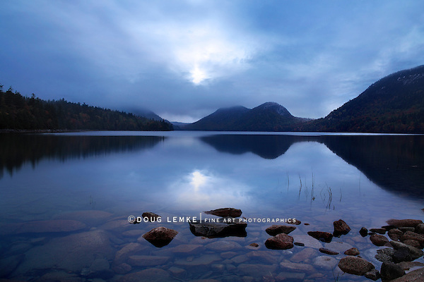 Sunset Over The Bubbles And Jordan Pond, Acadia National Park, Maine, USA