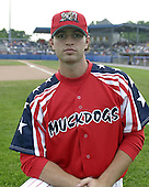 July 4, 2004:  Pitcher James (J.A.) Happ of the Batavia Muckdogs, Short-Season Single-A affiliate of the Philadelphia Phillies, during a game at Dwyer Stadium in Batavia, NY.  Photo by:  Mike Janes/Four Seam Images