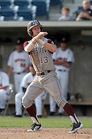 Krey Bratsen #13 of the Texas A&M Aggies bats against the Pepperdine Waves at Eddy D. Field Stadium on March 23, 2012 in Malibu,California. Texas A&M defeated Pepperdine 4-0.(Larry Goren/Four Seam Images)