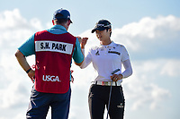 Sung Hyun Park (KOR) fist bumps her caddie after sinking her birdie putt on 15 during Sunday's final round of the 72nd U.S. Women's Open Championship, at Trump National Golf Club, Bedminster, New Jersey. 7/16/2017.<br /> Picture: Golffile | Ken Murray<br /> <br /> <br /> All photo usage must carry mandatory copyright credit (&copy; Golffile | Ken Murray)