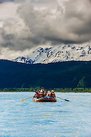 Rafting on the Chilkat River through the Alaska Chilkat Bald Eagle Preserve between Klukwan and Haines, southeast Alaska USA.