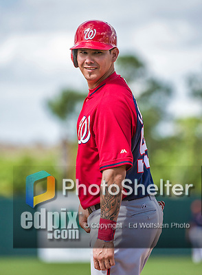 12 March 2014: Washington Nationals catcher Jose Lobaton stands at first during a Spring Training game against the Houston Astros at Osceola County Stadium in Kissimmee, Florida. The Astros rallied in the bottom of the 9th to edge out the Nationals 10-9 in Grapefruit League play. Mandatory Credit: Ed Wolfstein Photo *** RAW (NEF) Image File Available ***