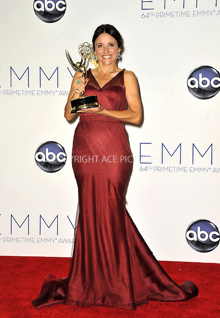 WWW.ACEPIXS.COM....September 23, 2012, Los Angeles, CA.....Julia Louis-Dreyfus posing in the press room during the 64th Primetime Emmy Awards at Nokia Theatre L.A. on September 23, 2012 in Los Angeles, California.........By Line: Peter West/ACE Pictures....ACE Pictures, Inc..Tel: 646 769 0430..Email: info@acepixs.com