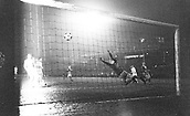 10.02.1965  Cologne versus Liverpool ended 0:0; Goalkeeper Tommy Lawrence (Liverpool); watches as s shot goes past his post in the 0-0 draw European Cup Quarter-finals