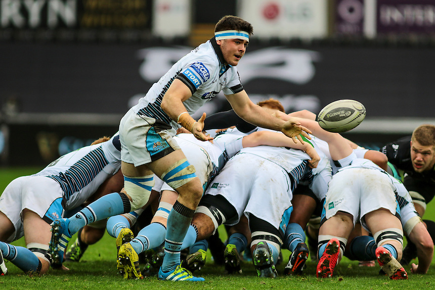Glasgow Warriors' Lewis Wynne pass from the base of a scrum.<br /> <br /> Photographer /Dan MintoCameraSport<br /> <br /> Guinness PRO12 Round 16  - Ospreys v Glasgow Warriors - Sunday 26th February 2017 - Liberty Stadium - Swansea<br /> <br /> World Copyright &copy; 2017 CameraSport. All rights reserved. 43 Linden Ave. Countesthorpe. Leicester. England. LE8 5PG - Tel: +44 (0) 116 277 4147 - admin@camerasport.com - www.camerasport.com