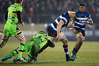Tom Ellis of Bath Rugby goes on the attack. Anglo-Welsh Cup Semi Final, between Bath Rugby and Northampton Saints on March 9, 2018 at the Recreation Ground in Bath, England. Photo by: Patrick Khachfe / Onside Images