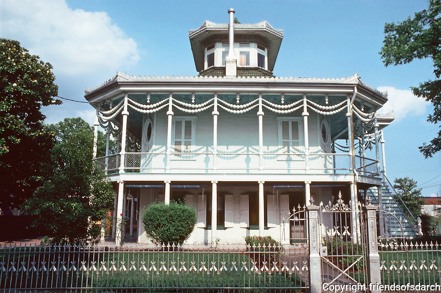 New Orleans:  Doullut House, 503 Egania St.  Built by Capt. M. Paul Doullut. Influenced by Japanese Pavilion, 1903.