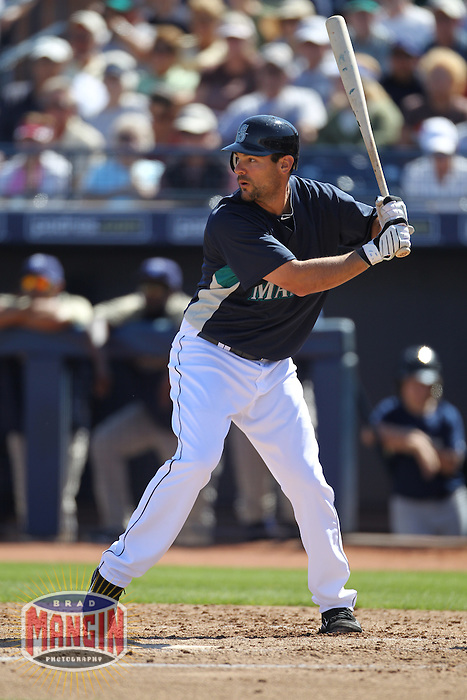 PEORIA - MARCH 5:  Casey Kotchman of the Seattle Mariners bats during a spring training game against the San Diego Padres on March 5, 2010 at the Peoria Sports Complex in Peoria, Arizona. (Photo by Brad Mangin)