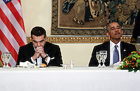 Pictured L-R: Greek Prime Minister Alexis Tsipras and US President Barack Obama. Tuesday 15 November 2016<br /> Re: US President Barack Obama attends official stat banquet at the Presidential Mansion during his visit to Athens Greece