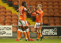 Blackpool's Joe Dodoo celebrates scoring his sides second goal with fellow team mate Blackpool's Armand Gnanduillet and Callum Guy<br /> <br /> Photographer Rachel Holborn/CameraSport<br /> <br /> The EFL Checkatrade Trophy Group C - Blackpool v Accrington Stanley - Tuesday 13th November 2018 - Bloomfield Road - Blackpool<br />  <br /> World Copyright © 2018 CameraSport. All rights reserved. 43 Linden Ave. Countesthorpe. Leicester. England. LE8 5PG - Tel: +44 (0) 116 277 4147 - admin@camerasport.com - www.camerasport.com