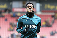 Leroy Fer of Swansea City warms up prior to the Premier League match between Watford and Swansea City at the Vicarage Road, Watford, England, UK. Saturday 30 December 2017