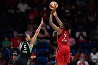 Washington, DC - August 25, 2019: Washington Mystics guard Ariel Atkins (7) elevates for a jump shot over New York Liberty guard Kia Nurse (5) during first half action of game between the New York Liberty and the Washington Mystics at the Entertainment and Sports Arena in Washington, DC. The Mystics defeated New York 101-72. (Photo by Phil Peters/Media Images International)