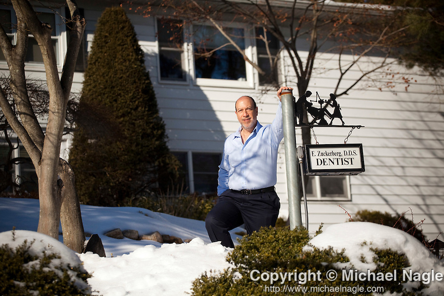 DOBBS FERRY, NY - FEBRUARY 03, 2011:  Dr. Edward Zuckerberg, D.D.S.,  father of Facebook founder Mark Zuckerberg, poses in front of his home/ dental practice on February 03, 2011 in Dobbs Ferry, NY.  (Photo by Michael Nagle)
