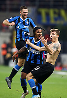 Calcio, Serie A: Inter Milano - Hellas Verona, Giuseppe Meazza stadium, November 9, 2019.<br /> Inter's Nicolò Barella (r) celebrates after scoring with his teammates during the Italian Serie A football match between Inter and Hellas Verona at Giuseppe Meazza (San Siro) stadium, on November 9, 2019.<br /> UPDATE IMAGES PRESS/Isabella Bonotto