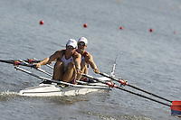 Poznan, POLAND,   USA M2X, bow, Peter GRAVES and Thomas GRAVES, competing in the heats of the men's double sculls, on the first day of the, 2009 FISA World Rowing Championships. held on the Malta Rowing lake, Sunday 23/08/2009 [Mandatory Credit. Peter Spurrier/Intersport Images]