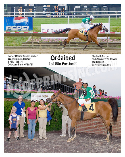 Ordained winning at Delaware Park on 6/18/11
