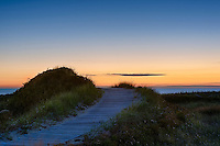 Dune path to Moshup Beach at sunet, Aquinnah, Martha's Vineyard, Massachusetts, USA