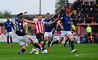 Lincoln City's Lee Frecklington vies for possession with Crewe Alexandra's Kevin O'Connor<br /> <br /> Photographer Chris Vaughan/CameraSport<br /> <br /> The EFL Sky Bet League Two - Lincoln City v Crewe Alexandra - Saturday 6th October 2018 - Sincil Bank - Lincoln<br /> <br /> World Copyright &copy; 2018 CameraSport. All rights reserved. 43 Linden Ave. Countesthorpe. Leicester. England. LE8 5PG - Tel: +44 (0) 116 277 4147 - admin@camerasport.com - www.camerasport.com