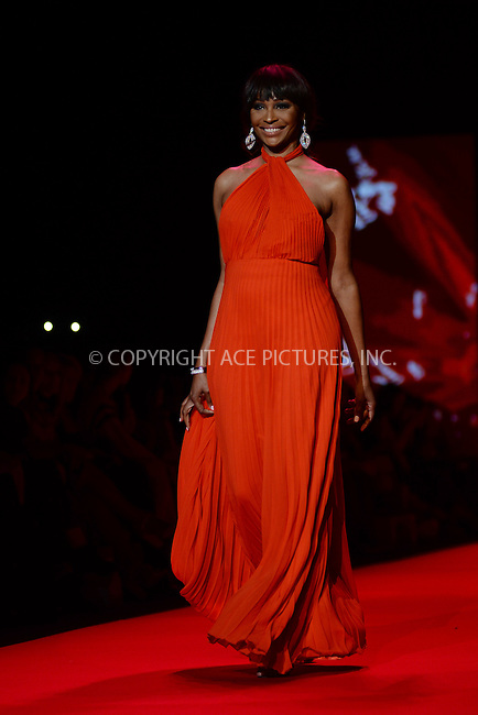 WWW.ACEPIXS.COM<br /> February 12, 2015 New York City<br /> <br /> Cynthia Bailey walks the runway at the Go Red For Women Red Dress Collection 2015 presented by Macy's fashion show during Mercedes-Benz Fashion Week Fall 2015 at The Theatre at Lincoln Center on February 12, 2015 in New York City.<br /> <br /> Please byline: Kristin Callahan/AcePictures<br /> <br /> ACEPIXS.COM<br /> <br /> Tel: (646) 769 0430<br /> e-mail: info@acepixs.com<br /> web: http://www.acepixs.com