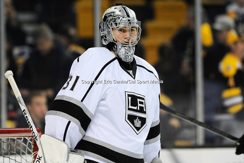 January 20, 2014 - Boston, Massachusetts, U.S. -Los Angeles Kings goalie Martin Jones (31) during the warm up period before start of the NHL game between Los Angeles Kings and the Boston Bruins held at TD Garden in Boston Massachusetts. The Bruins defeated the Kings 3-2 in regulation time.   Eric Canha/CSM