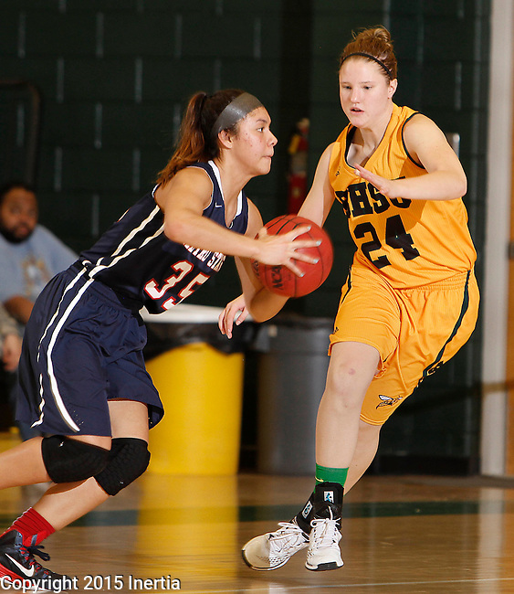 JANUARY 31, 2015 -- Luisa Tago #35 of MetroState gets pressure from Courtney Patterson #24 of Black Hills State during their Rocky Mountain Athletic Conference women's basketball game Saturday evening at the Donald E. Young Center in Spearfish, S.D.  (Photo by Dick Carlson/Inertia)