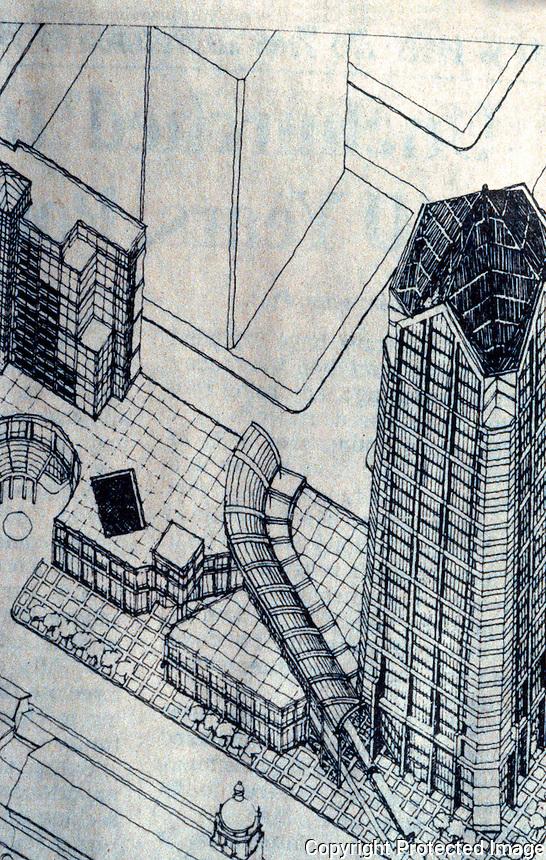 Helmut Jahn: One Great America Plaza, San Diego. Axonometric rendering.