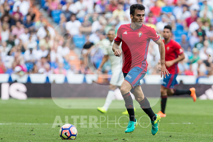 Club Atletico Osasuna's Jaime Romero during the match of La Liga between Real Madrid and Club Atletico Osasuna at Santiago Bernabeu Estadium in Madrid. September 10, 2016. (ALTERPHOTOS/Rodrigo Jimenez)