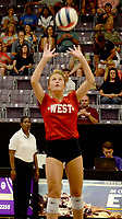Graham Thomas/Herald-Leader<br /> Former Siloam Springs standout Chloe Price sets the ball for the West on Friday during the Arkansas High School Coaches Association All-Star Volleyball Match at the Farris Center on the campus of the University of Central Arkansas in Conway.