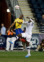 Jozy Altidore (17) of the USMNT goes up for a header against Aquivaldo Mosquera (2) of Colombia during an international friendly at PPL Park in Chester, PA.  The U.S. tied Columbia, 0-0.