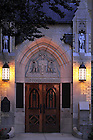 """East door of the Basilica of the Sacred Heart with the words """"God, Country, Notre Dame.""""..Photo by Matt Cashore/University of Notre Dame"""