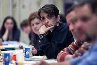 Moscow, Russia, 17/02/2011..Editor Masha Gessen at an editorial conference at Snob magazine in their offices in a converted army factory.