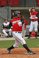 Juan Francisco of the Carolina Mudcats hitting against  the Huntsville Stars on April 22, 2009 at Five County Stadium in Zebulon, NC