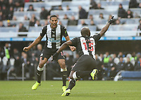 30th November 2019; St James Park, Newcastle, Tyne and Wear, England; English Premier League Football, Newcastle United versus Manchester City; Jetro Willems of Newcastle United runs in celebration after scoring in the 25th minute to make it 1-1 with Isaac Hayden of Newcastle United close by - Strictly Editorial Use Only. No use with unauthorized audio, video, data, fixture lists, club/league logos or 'live' services. Online in-match use limited to 120 images, no video emulation. No use in betting, games or single club/league/player publications