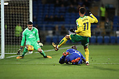 1st December 2017, Cardiff City Stadium, Cardiff, Wales; EFL Championship Football, Cardiff City versus Norwich City; Josh Murphy of Norwich City shot on goal is stopped by Neil Etheridge of Cardiff City