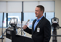 NWA Democrat-Gazette/BEN GOFF @NWABENGOFF<br /> Jason Wildeman, Mercy vice president of outpatient services, speaks Wednesday, Feb. 21, 2018, during a ribbon cutting and blessing at Mercy Therapy Services on Horsebarn Road in Rogers. Mercy celebrated the renovation of the facility, quadrupling the space to 10,000 square feet, with more open exercise space, new equipment and curtained-off individual treatment rooms.